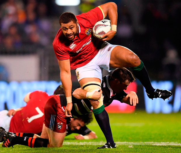 3 June 2017; Taulupe Faletau of the British & Irish Lions is tackled by Jack Stratton of the New Zealand Provincial Barbarians during the match at Toll Stadium in Whangarei, New Zealand. Photo: Stephen McCarthy/Sportsfile