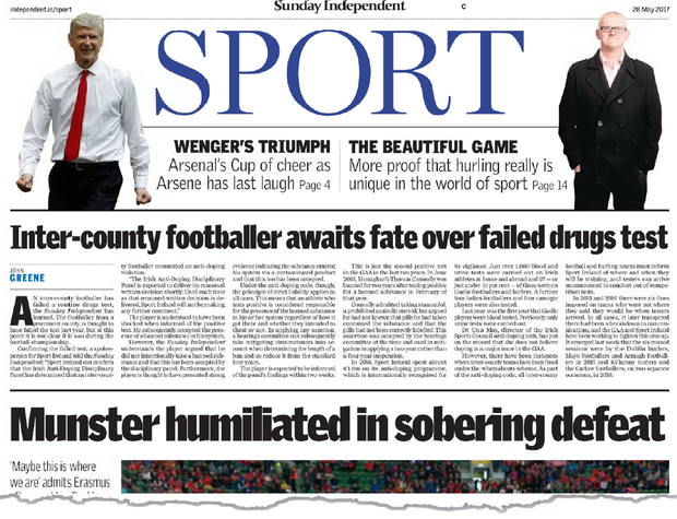 'When the story broke in this paper, initial shock that a Gaelic footballer had failed a test quickly gave way to disbelief that the failure dated back to April 2016, and the ban had already been served'