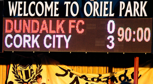 view of the scoreboard during Cork City's victory at champions Dundalk on Friday night. Photo: Ramsey Cardy/Sportsfile