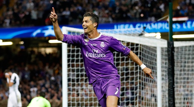 Cristiano Ronaldo celebrates scoring Real Madrids' third goal. Photo: Carl Recine/Reuters