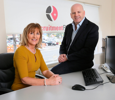 Sean Gallagher with Anne Fanthom Managing Director of Recruitment Plus, at the Recruitment Plus offices in Stillorgan. Photo: Frank McGrath