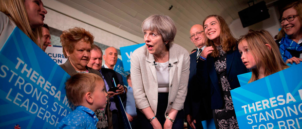 It's hers to lose: Theresa May speaks to supporters at Thornhill Cricket and Bowling Club in Dewsbury, West Yorkshire. Photo: Stefan Rousseau