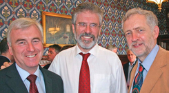 Triad: The UK Labour Party's shadow chancellor John McDonnell, Sinn Fein president Gerry Adams, and UK Labour leader Jeremy Corbyn at the London Irish Centre in Camden Town, London, in 2008.