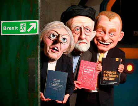 Spitting Image: Three actors, portraying Theresa May, Jeremy Corbyn and Tim Farron, at a new general election themed fairground attraction called 'Poll-tergeist' — which is an addition to Derren Brown's Ghost Train: Rise of the Demon attraction at Thorpe Park Resort in Surrey, aimed at encouraging young people to get involved with the vote.