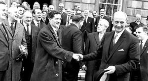 FATHER FIGURE: Jack Lynch is congratulated outside Leinster House after becoming Taoiseach in 1966