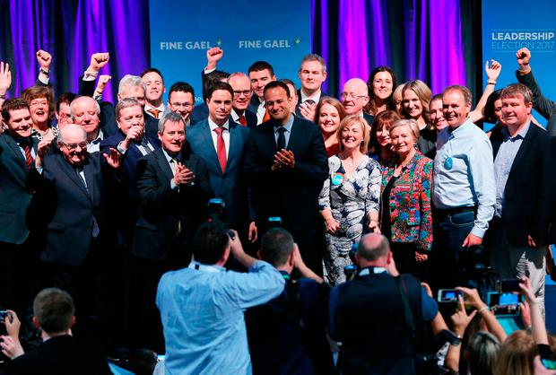 FUTURE: Leo Varadkar with Fine Gael members at the Mansion House in Dublin last Friday night after he was announced as the newly elected Fine Gael party leader. Photo: Brian Lawless/PA