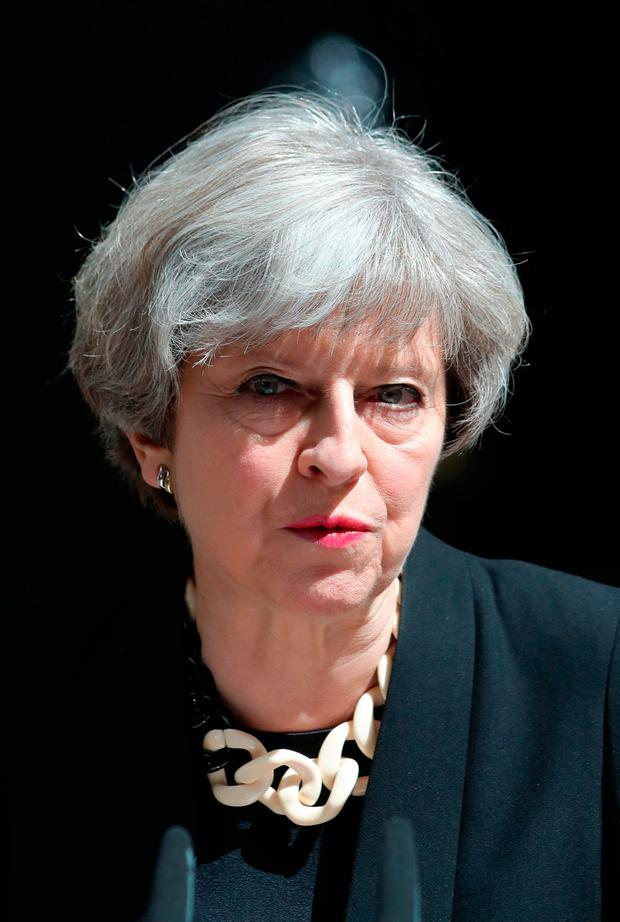 Prime Minister Theresa May makes a statement in Downing Street after chairing a meeting of the Government's emergency Cobra committee following last night's terrorist incident in London. Andrew Matthews/PA Wire