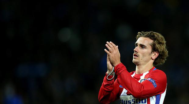 Antoine Griezmann of Atletico Madrid applauds the travelling fans after the UEFA Champions League Quarter Final Second Leg match between Leicester City and Club Atletico de Madrid at King Power Stadium on April 18 , 2017 in Leicester, United Kingdom. (Photo by Plumb Images/Leicester City FC via Getty Images)