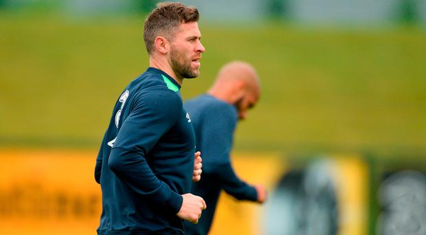 Daryl Murphy of Republic of Ireland during squad training at the FAI National Training Centre in Abbotstown, Co Dublin. Photo by Piaras Ó Mídheach/Sportsfile
