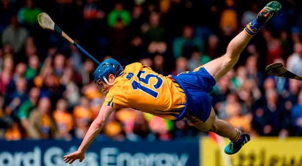 Shane O'Donnell of Clare after scoring his side's second goal during the Munster GAA Hurling Senior Championship Semi-Final between Limerick and Clare at Semple Stadium in Thurles, Co. Tipperary. Photo by Diarmuid Greene/Sportsfile