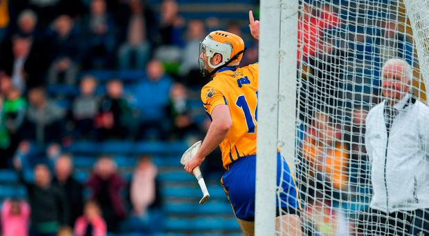 Conor McGrath of Clare celebrates after scoring the third goal during the Munster GAA Hurling Senior Championship Semi-Final match between Limerick and Clare at Semple Stadium, in Thurles, Co. Tipperary. Photo by Ray McManus/Sportsfile