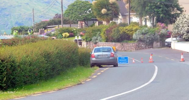 Garda forensic officers at the scene this morning of a fatal overnight accident (Picture: Paul Mealey)