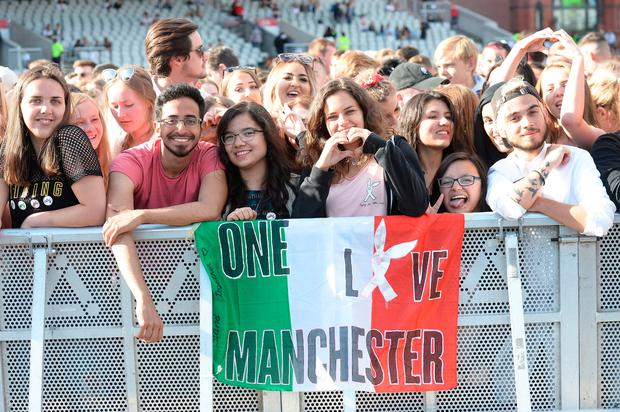 General view of the crowd ahead of the One Love Manchester benefit concert for the victims of the Manchester Arena terror attack at Emirates Old Trafford