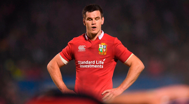 Johnny Sexton pauses for thought during Saturday's opening game of the Lions tour. Photo by Stephen McCarthy/Sportsfile