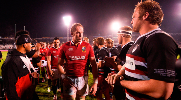 Alun Wyn Jones of the British & Irish Lions following the match between the New Zealand Provincial Barbarians and the British & Irish Lions. Photo by Stephen McCarthy/Sportsfile