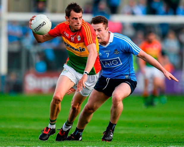 Sean Gannon of Carlow in action against Jack McCaffrey of Dublin during the Leinster GAA Football Senior Championship Quarter-Final. Photo: Ray McManus/Sportsfile