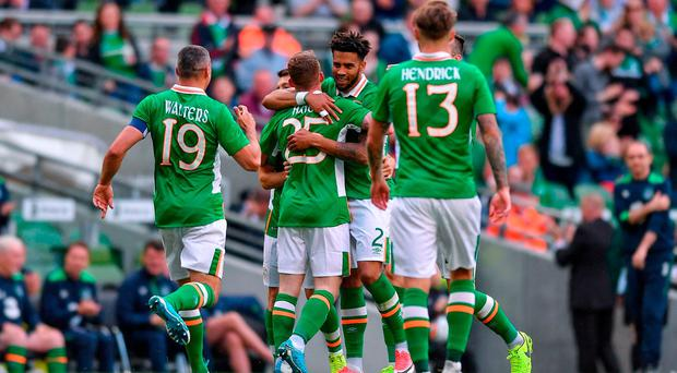 Republic of Ireland players celebrate with Cyrus Christie after he scored his teams second goal of the game during the international friendly match between Republic of Ireland and Uruguay at the Aviva Stadium in Dublin. Photo by Eóin Noonan/Sportsfile