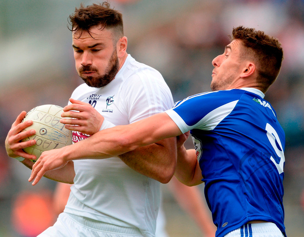 Fergal Conway of Kildare in action against Colm Begley of Laois at O'Connor Park. Photo: Piaras Ó Mídheach/Sportsfile