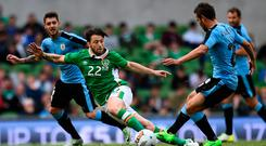 Harry Arter marshalling the Irish midfield against Uruguay yesterday. Photo: Reuters / Clodagh Kilcoyne