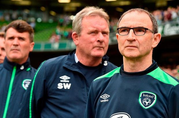 Republic of Ireland manager Martin O'Neill (R), with Assistant Coach Steve Walford and Republic of Ireland assistant manager Roy Keane prior to the international friendly match between Republic of Ireland and Uruguay at the Aviva Stadium in Dublin. Photo: David Maher/Sportsfile