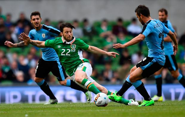 Harry Arter in action against Uruguay. REUTERS