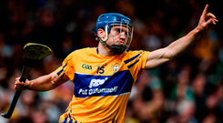 Clare's Shane O'Donnell celebrates after scoring his side's first goal during the Munster GAA Hurling Senior Championship Semi-Final against Limerick. Photo: Diarmuid Greene/Sportsfile