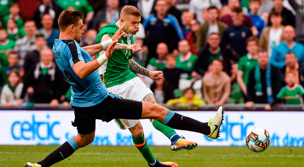 James McClean strikes home Ireland's third goal against Uruguay. Photo by David Maher/Sportsfile