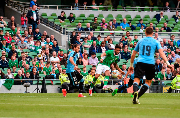 Cyrus Christie's left-footed shot finds the back of the net for the second. Photo by Eóin Noonan/Sportsfile