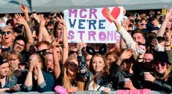 General view of the crowd in this handout provided by 'One Love Manchester' benefit concert on June 4, 2017 in Manchester, England. (Photo by Getty Images/Dave Hogan for One Love Manchester)