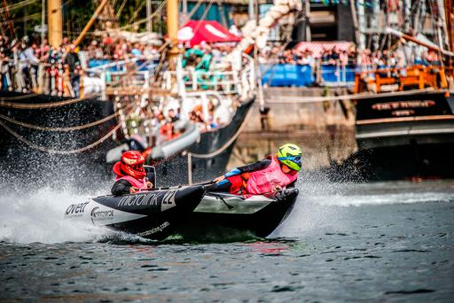 4/5/2017: DUBLIN : Hold on to your hats, the UK Thundercats power boats made their first Irish debut at this year's Dublin Port Riverfest.