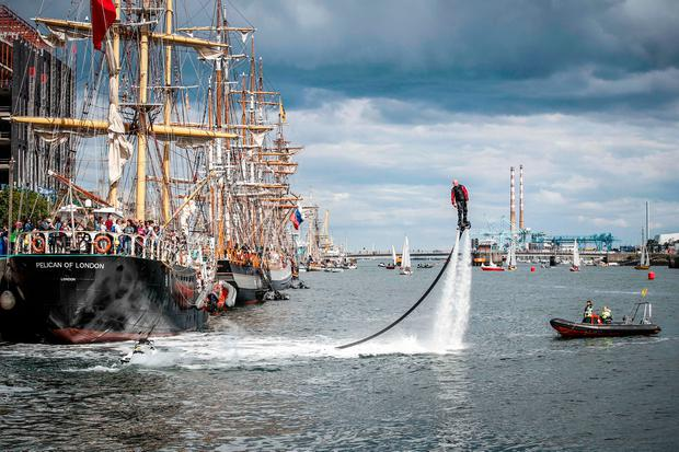 4/5/2017: DUBLIN : Pictured water jet pack performer entertains the thousands of visitors enjoying all the festivities of Dublin Port Riverfest.