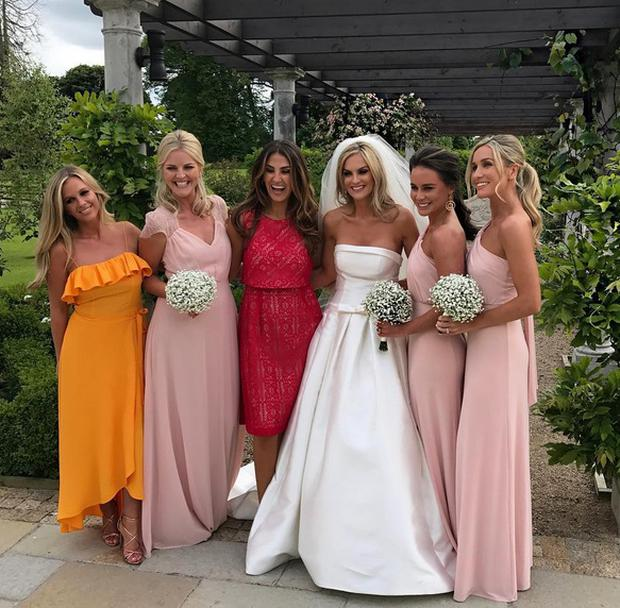 Leah O'Reilly celebrates her wedding day with model friends. Picture: Instagram