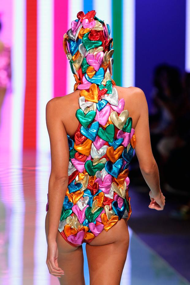 A model walks the runway at the Agatha Ruiz de la Prada fashion show at Miami Fashion Week at Ice Palace Film Studios on June 4, 2017 in Miami, Florida. (Photo by John Parra/Getty Images for Miami Fashion Week)