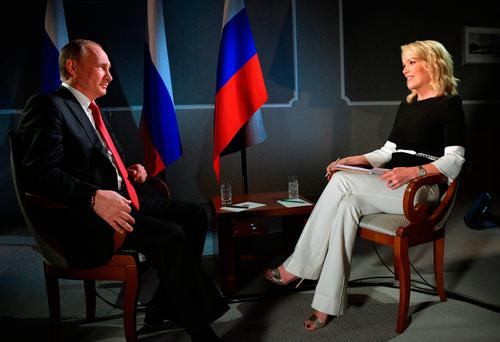 Russian President Vladimir Putin talks with Megyn Kelly during an interview with NBC's
