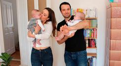 James and Olivia Doherty with their twins Max and Mathilda