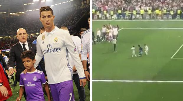 Cristiano Ronaldo was upstaged by son on Saturday evening. CREDIT: GETTY IMAGES