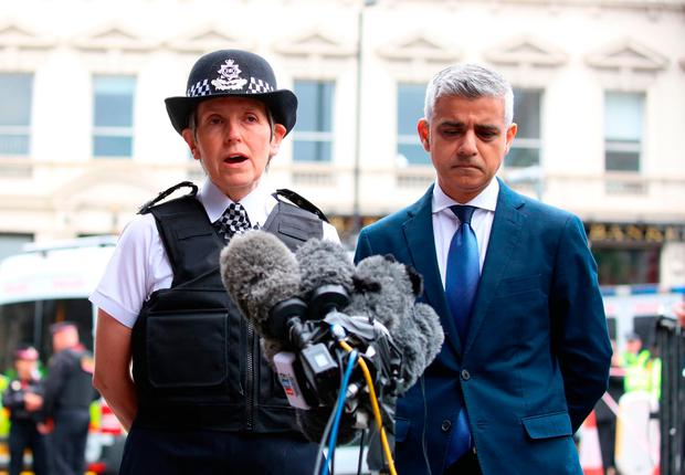 Metropolitan Police Commissioner Cressida Dick and Mayor of London Sadiq Khan speak to the media as they visit the scene near London Bridge following Saturday's terrorist attack (PA)