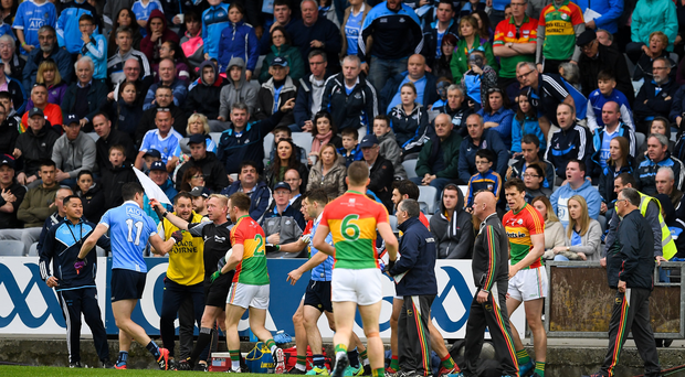 Diarmuid Connolly of Dublin remonstrates with linesman Ciaran Branagan during the Leinster GAA Football Senior Championship Quarter-Final match between Dublin and Carlow at O'Moore Park, Portlaoise, in Co. Laois. Photo by Ray McManus/Sportsfile