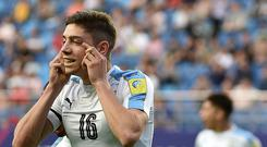Uruguay's midfielder Federico Valverde celebrates scoring during their U-20 World Cup quarter-final football match between Portugal and Uruguay in Daejeon on June 4, 2017. / AFP PHOTO / KIM DOO-HO (Photo credit should read KIM DOO-HO/AFP/Getty Images)