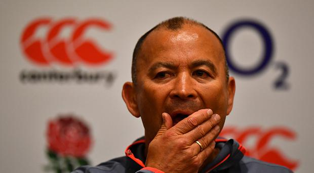 Eddie Jones, Head Coach of England speaks to the media during a press conference at the Emperdor Hotel on June 5, 2017 in Buenos Aires, Argentina. (Photo by Dan Mullan/Getty Images)