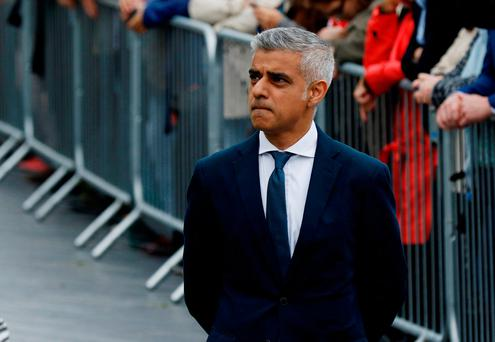 Mayor of London, Sadiq Khan arrives in Potters Field Park for an event for the victims of Saturday nights attacks. Photo: Reuters