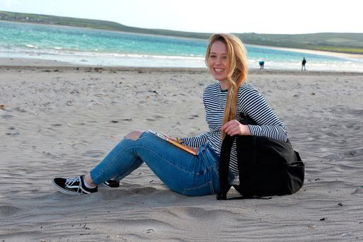 Bobbi Nic Eoin (18), from Pobalscoil Chorca Dhuibhne in Dingle, Co Kerry, on Ventry beach close to her home. Photo: Domnick Walsh