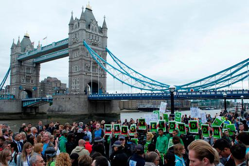 General view of Tower Bridge as people gather during an event for the victims of Saturday nights attacks, London