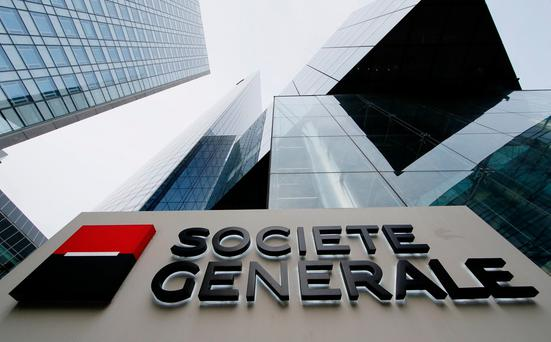 Societe Generale headquarters at La Defense business and financial district in Courbevoie near Paris