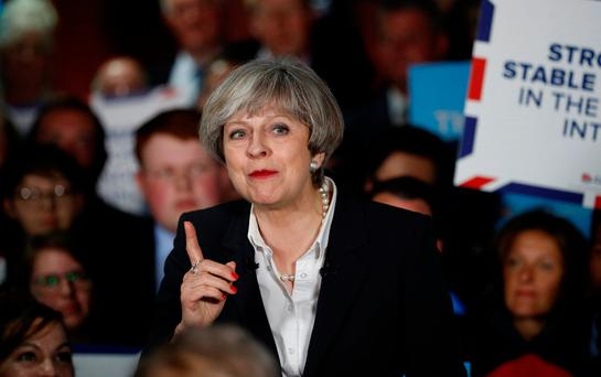 British Prime Minister Theresa May speaks during an election campaign event in Bradford. Photo: Reuters