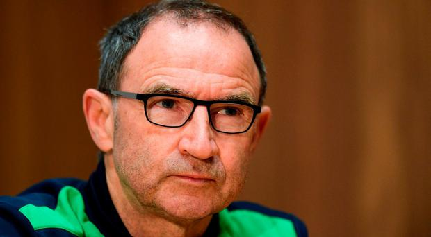 Republic of Ireland manager Martin O'Neill during a press conference at the FAI National Training Centre in Dublin. Photo by Ramsey Cardy/Sportsfile