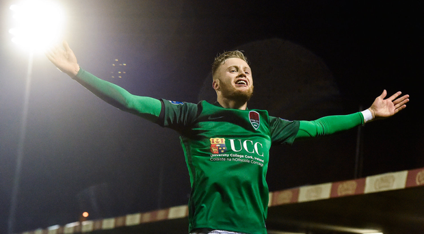 17 February 2017; Kevin O'Connor of Cork celebrates after scoring his side's second goal with teammates during the President's Cup match between Dundalk and Cork City at Turner's Cross in Cork. Photo by David Maher/Sportsfile