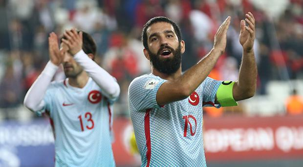 Arda Turan (10) of Turkey greets supporters after the 2018 FIFA World Cup European Qualifying Group I football match between Turkey and Kosovo in Antalya, Turkey on November 12, 2016. (Photo by Orhan Cicek/Anadolu Agency/Getty Images)