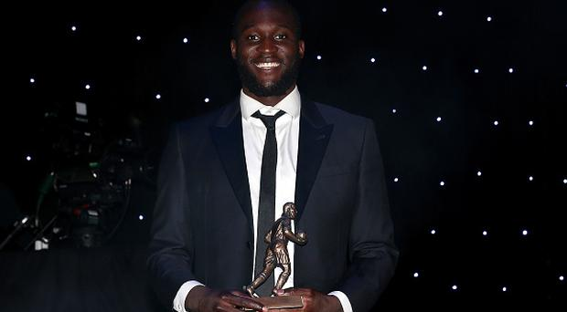 Romelu Lukaku receives the Players' Player of the Season award during the Everton End Of Season Awards at The Liverpool Philharmonic Hall on May 9, 2017 in Liverpool, England. (Photo by Everton FC/Everton FC via Getty Images)