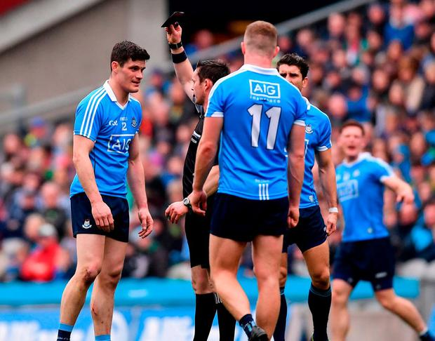 Diarmuid Connolly being given marching orders in the NFL final. Photo: Ramsey Cardy/Sportsfile